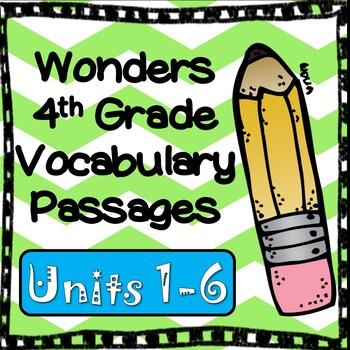 Wonders Fourth Grade Vocabulary Cloze Passages, All Units Bundled