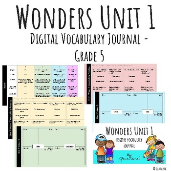 Wonders Google Slides Digital Vocabulary Journal - Unit 1 - Grade 5