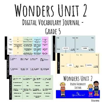 Wonders Google Slides Digital Vocabulary Journal - Unit 2 - Grade 5