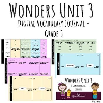 Wonders Google Slides Digital Vocabulary Journal - Unit 3 - Grade 5