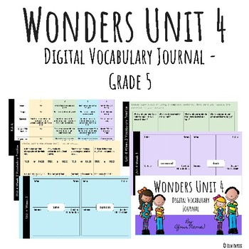 Wonders Google Slides Digital Vocabulary Journal - Unit 4 - Grade 5