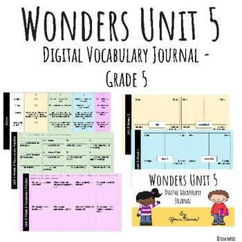 Wonders Google Slides Digital Vocabulary Journal - Unit 5 - Grade 5