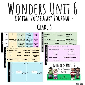 Wonders Google Slides Digital Vocabulary Journal - Unit 6 - Grade 5