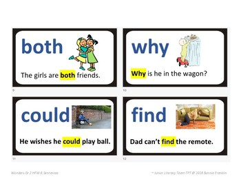 Wonders Gr2 Unit 1 High Frequency Words with Pictures & Sentences