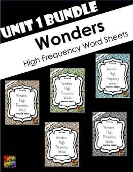 Wonders Grade 1 HFW Review Sheets Unit 1 BUNDLE (S.Malek)
