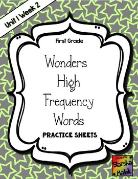 Wonders Grade 1 HFW Review Sheets Unit 1 Week 2