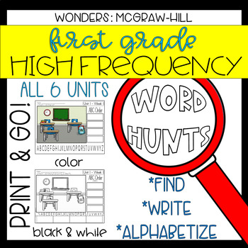 Wonders Grade 1 High Frequency Word Hunts: Magnifying Glass Fun!
