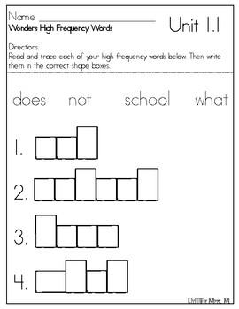 Wonders Grade 1 High Frequency Word Shape Box Sheets