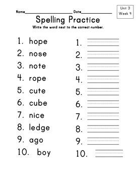 Wonders Grade 1 On Level Spelling Unit 3