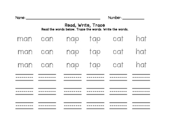 Wonders Grade 1 Unit 1 Week 1 Spelling Words Trace and Write Center