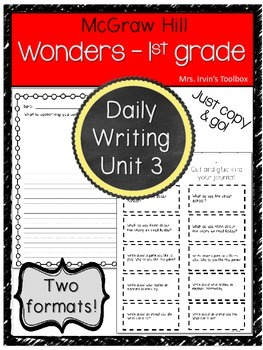 Wonders Grade 1 Unit 3 Daily Writing and Reading Response