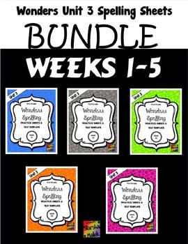 Wonders Grade 1 Unit 3 Spelling Practice Bundle (S.Malek)