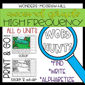 Wonders Grade 2 High Frequency Word Hunts: Magnifying Glass Fun!