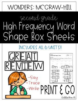 Wonders Grade 2 High Frequency Word Shape Box Sheets