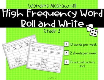 Wonders Grade 2 High Frequency Words Roll and Write