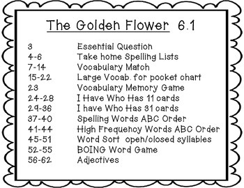 Wonders Grade 2 The Golden Flower 6.1 {8 Literacy Activities}