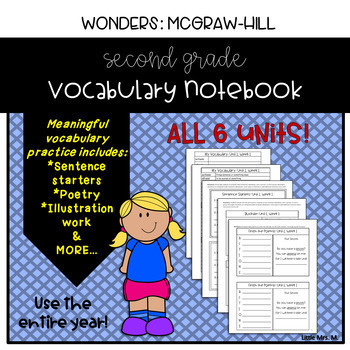 Reading Wonders Grade 2 Vocabulary Notebook Growing Bundle