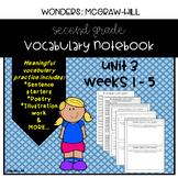 Wonders Grade 2 Vocabulary Notebook: Unit 3