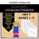 Wonders Grade 2 Vocabulary Notebook: Unit 4