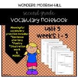 Wonders Grade 2 Vocabulary Notebook: Unit 5