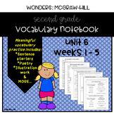 Wonders Grade 2 Vocabulary Notebook: Unit 6