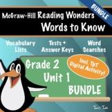 Wonders Grade 2: Words to Know (Unit 1 Bundle)