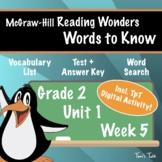 Wonders Grade 2: Words to Know (Unit 1, Week 5)