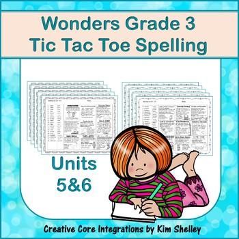 Wonders Grade 3 Spelling Tic Tac Toe UNITS 5 and 6