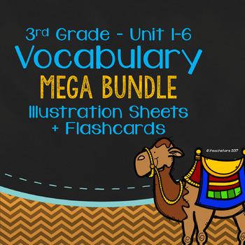 Wonders Grade 3 Vocabulary Mega Bundle: Illustration Sheets + Flashcards