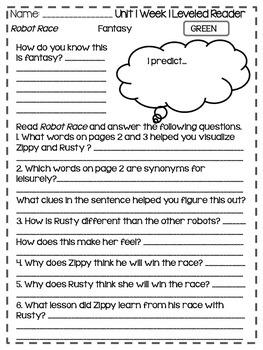 Wonders Grade 3: Unit 1 Leveled Readers Response Sheets
