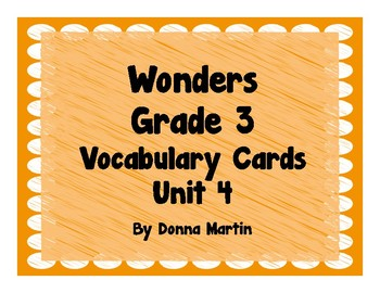 Wonders Grade 3 Unit 4 Vocabulary Word Wall Cards