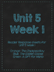Wonders Grade 3: Unit 5 Leveled Readers Response Sheets