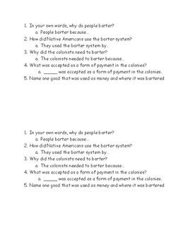 Wonders Grade 3- Unit 5 Week 1- When Corn Was Cash- Short Answer Questions