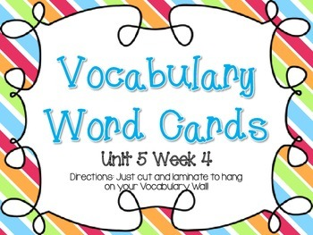 Wonders Grade 3: Unit 5 Week 4 Vocabulary Games