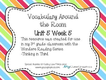 Wonders Grade 3: Unit 5 Week 5 Vocabulary Games