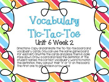 Wonders Grade 3: Unit 6 Week 2 Vocabulary Games