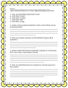 Wonders Grade 3 Unit 6 week 4 Shared Read Exit ticket