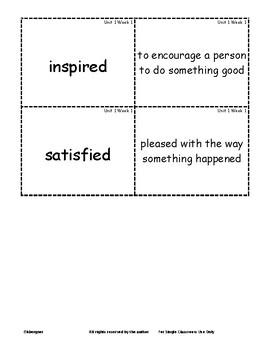 Wonders Grade 3 Vocabulary Matching Cards Units 1-6