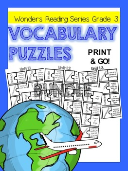 Wonders Grade 3 Vocabulary Puzzles BUNDLE