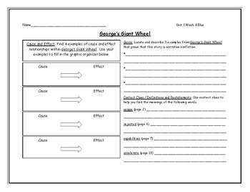 McGraw Hill Wonders Grade 4 Leveled Reader Graphic Organizers - Unit 1 Week 4