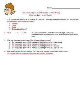 Wonders ELA McGraw Hill: Grade 4: Unit 1 Listening Quizzes