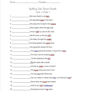 Wonders Grade 4 Unit 1, Week 1 Spelling Quiz (Editable)
