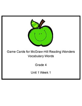 Wonders Grade 4 Unit 1 Week 1 Vocabulary Cards