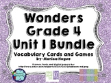 Wonders Grade 4 Vocabulary Cards and Games Unit 1 Bundle
