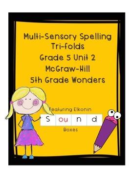 Wonders Grade 5 Unit 2 Weeks 1-5 Spelling Tri-fold - Multisensory