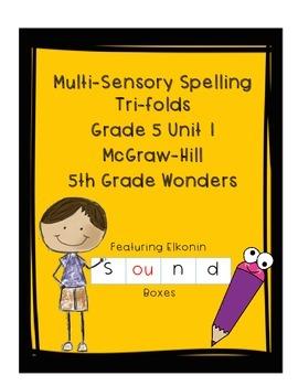 Wonders Grade 5 Unit 1 Weeks 1-5 Spelling Tri-fold - Multi-sensory