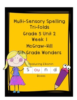 Wonders Grade 5 Unit 2 Week 1 Spelling Tri-fold - Multisensory