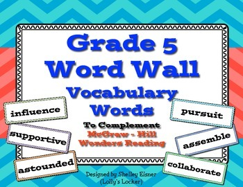 Wonders Grade 5 Vocabulary Cards for Word Walls
