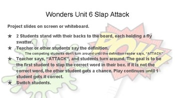 Wonders Grade 6 Unit 1 Weeks 1-5 Slap Attack Review Game