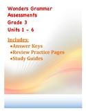 Wonders Grammar Grade 3 Assessments Units 1-6